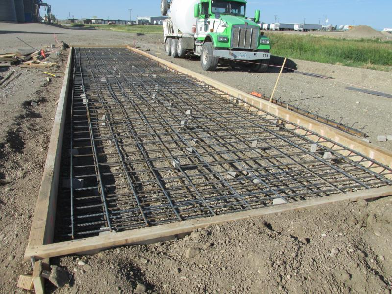 "Double mats of 5/8"" rebar in a slab design foundation"